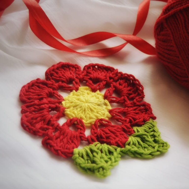 red flower doily